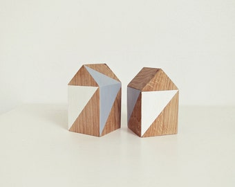 "1 Ahoj-2012 wooden Cottage ""geometry/triangles"", wood, cottage, village, Gray, White, city, gift, decoration, Wohnaccesoire, 1 piece"
