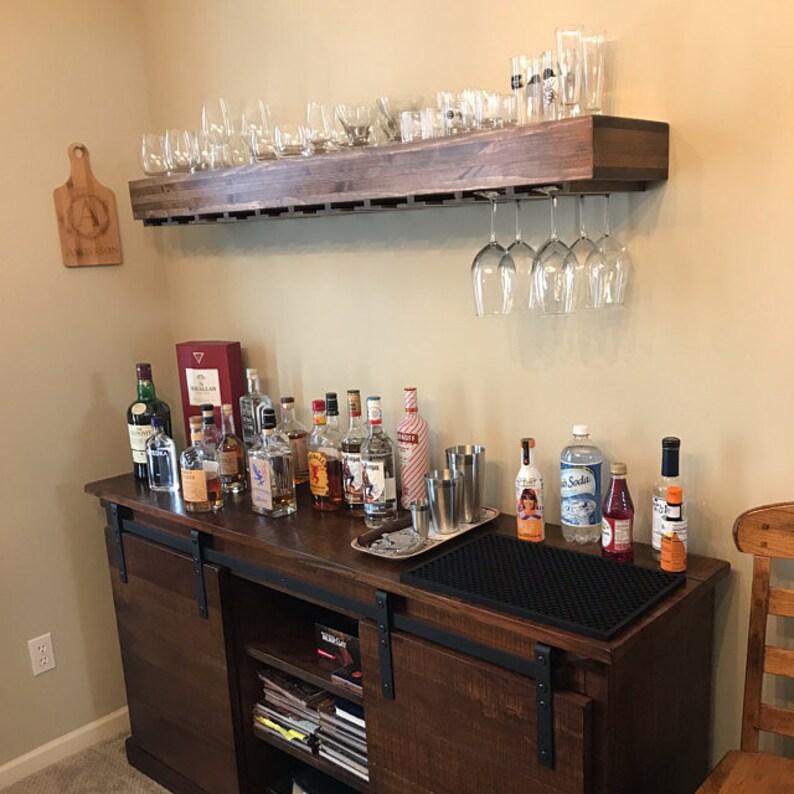 free shipping, bar shelf, floating shelf, wine glass shelf, floating  shelves, kitchen shelves, bar room shelf, kitchen shelf, wood shelf