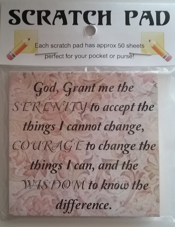 Floral Serenity Prayer Notepads Unique Gifts 2 Scratch pads FREE SHIPPING