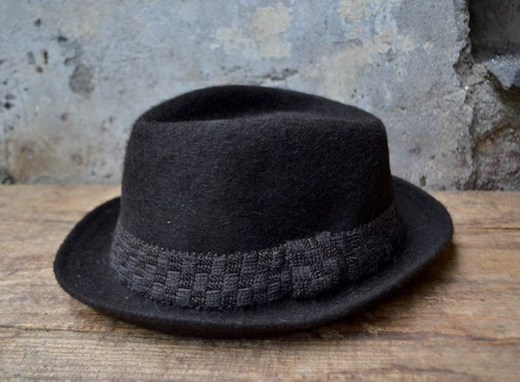 Vintage wool hat, felted fedora hat, pure wool fed