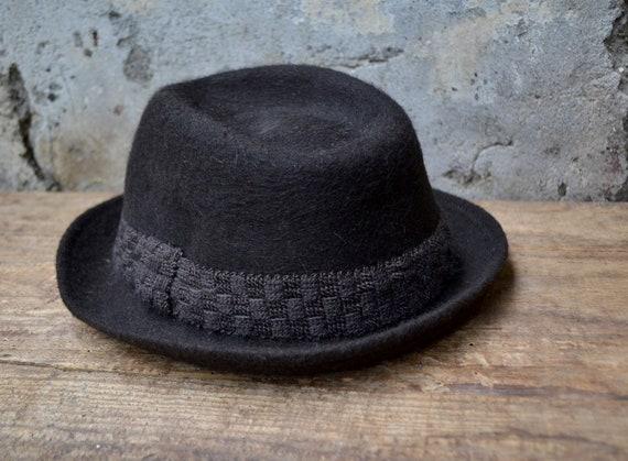 Vintage wool hat, felted fedora hat, pure wool fe… - image 2