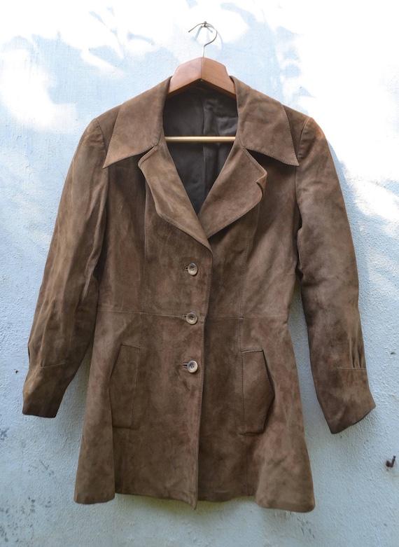 Classic women suede jacket, autumn leather jacket,