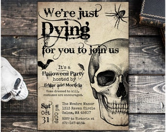 Vintage Halloween Invitation Template, Instant Download, Halloween Party Invitation, Printable Halloween Invite for Adults, Digital Download