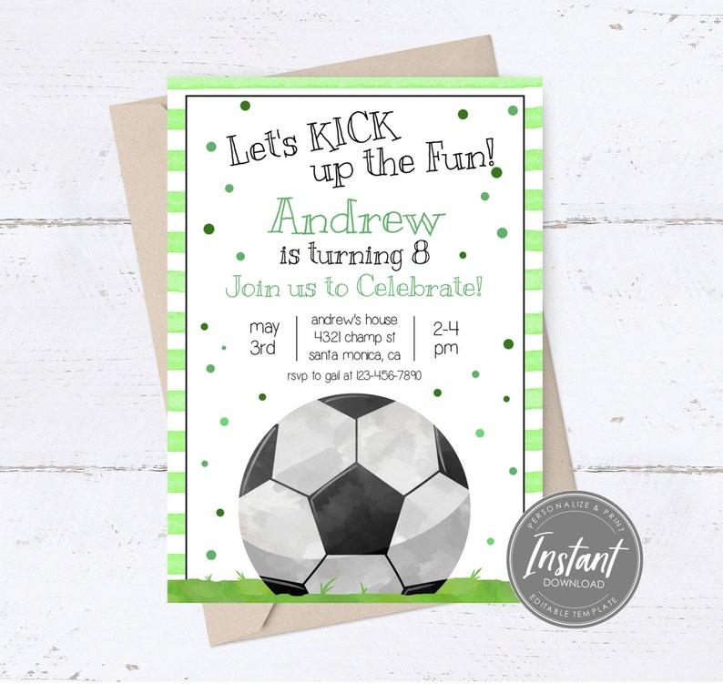 Soccer Birthday Invitation Sports Team Party Soccer Party Boys Editable Printable Email Text Digital Boy Soccer Template Sports Invite
