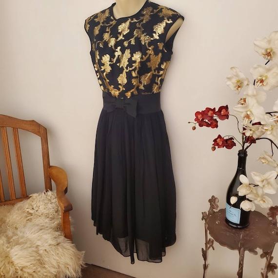 Silk Chiffon Floral vintage Off the shoulder cocktail dress Handmade