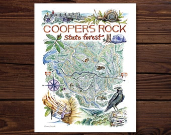 Coopers Rock State Forest Watercolor Illustrated Map
