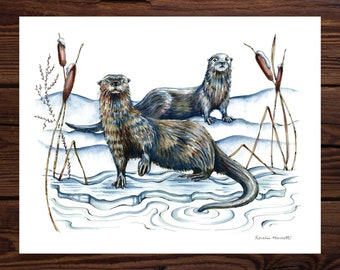 River Otters - Watercolor Art Print