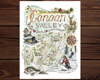 Canaan Valley Watercolor Illustrated Map