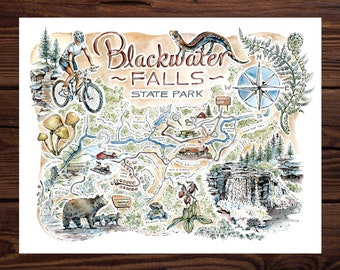 Blackwater Falls State Park Watercolor Illustrated Map - Large, Limited Edition