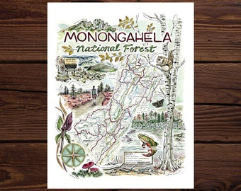 Monongahela National Forest Watercolor Illustrated Map