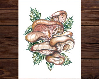 Oyster Mushroom Original Watercolor Art Print
