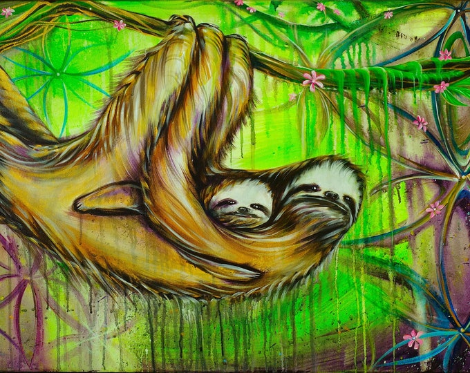 Lily Sloths - Prints - painted live w/ Mike Love, Eugene Or. 2017