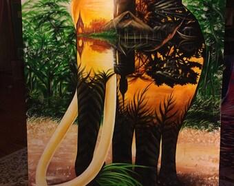 Elephant Landscape - canvas print . 2017