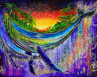 Farm Humpbacks! ~ Prints ~ painted live w/ Mike Love and Full Circle at Surfer Bar in Northshore Oahu 2017