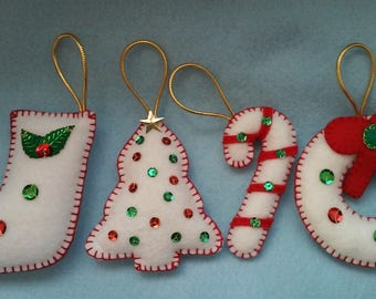 handmade felt christmas ornaments set of 4 - Handmade Felt Christmas Decorations