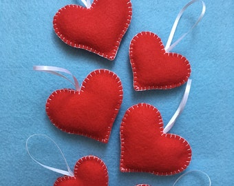 Handmade Red Felt Hearts Set Of 6 Valentines Hearts Christmas Tree Ornaments Wedding Favors