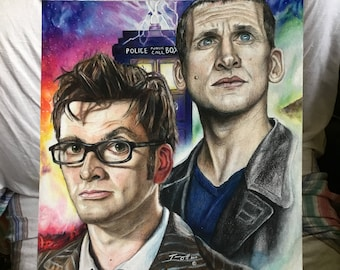 New Doctor Who Ninth and Tenth Doctors Drawing