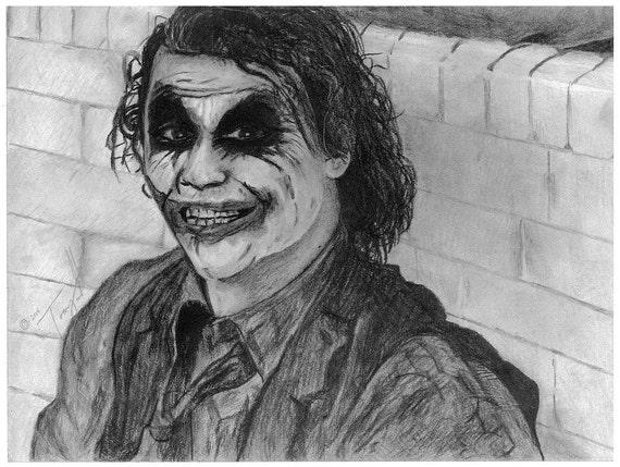 Impression Dessin Joker Dark Knight Batman Au Crayon Par Etsy
