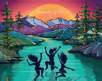 2021 Summer Solstice poster 16x20 - Midnight Sun Beach Lake house wild flowers Alaskan Summer AK sunny days lake life mountain artist