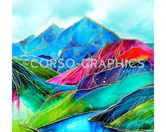 Watershed Mountain wall art Bright Mountain Alaska scenery artwork colorful display mountain hand rendered painting