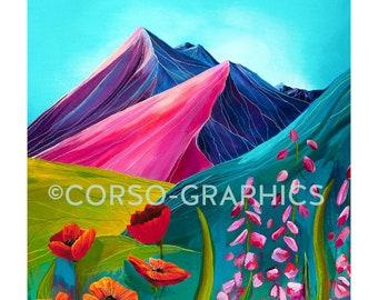 Bright Mountain Art print Wall art mountain scene 11x14 print home decor landscape art, colorful art acrylic painting corso graphics