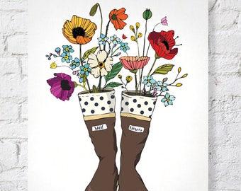 Alaska Art Print Wall Illustration Design 11x14 Artwork For Gift Birthday Alaskan Wildflower Poppies Flower Garden
