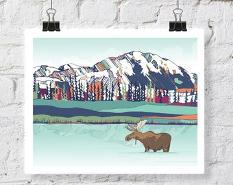 Art Print, Alaska art, mountain art, Denali Park, Mountain art print, 11x14, 16x20, digital artwork, colorful artwork, moose art print