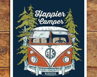 Camper Art Print Wall Art Happy Camper Art Wanderlust VW Camper Adventure Artwork Explore Volkswagon Camper alaskan art 11x14 Wall Decor