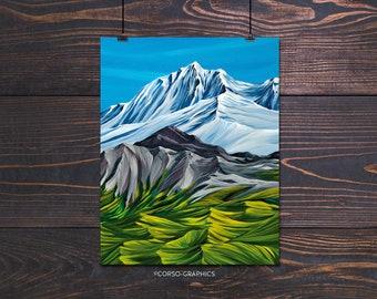 Greenscape  Alaskan wall art decor with bright color the Jewel tones with lust tundra mountains foliage alaska art print mountain artist