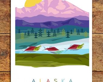 Mountain artwork art print alaska art wall art nature scene art print adventure art alaskan artwork illustration design spawning salmon art