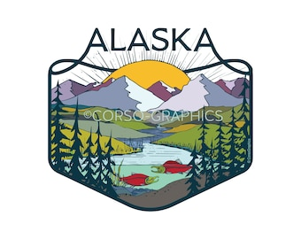 Art Print Alaska Big Sun mountain print digital print berries print nature art prints, 16x20, 11x14, alaskan artwork blueberries wall art