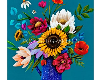 Wall Art vintage floral decor sunflower poppies  blue  tree art wall decor art print night colorful artwork gift baby shower office art