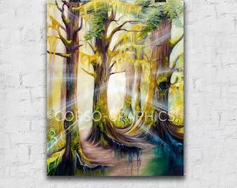 Forest sunshine trees spruce Girdwood wilderness  Artwork Wall Art Print Paper 11x14 Wall nature inspirational art green alaska colorful