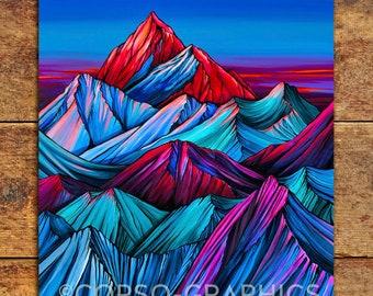 Alpenglow Bright Mountain Art print Wall art mountain scene 11x14 print home decor landscape colorful art acrylic painting corso graphics