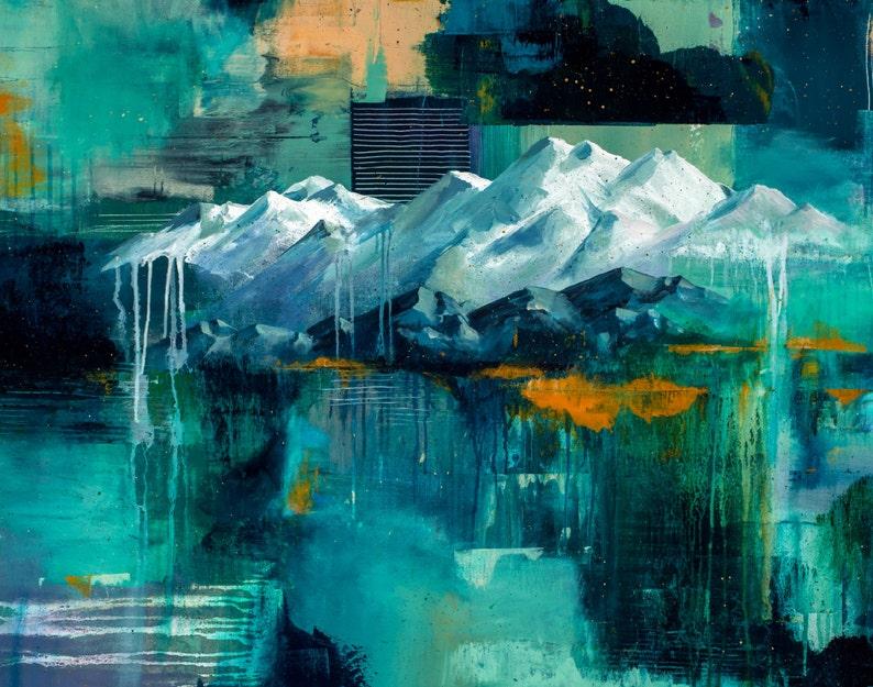 Art print Mountain print Wall art mountain art mountain image 1
