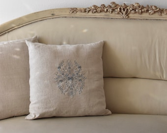 Linen Embroidered Decorative Throw Pillow