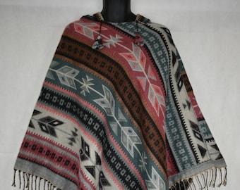 Hippy Boho Indian Cotton mexicain Chaud Pull à Capuche Festival Aztèque Coloré