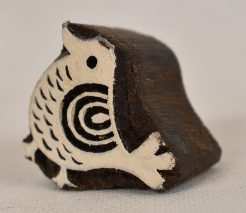 Fair Trade 3.9cm Folk Bird Chick Design Carved Indian Wooden Printing Block Stamp