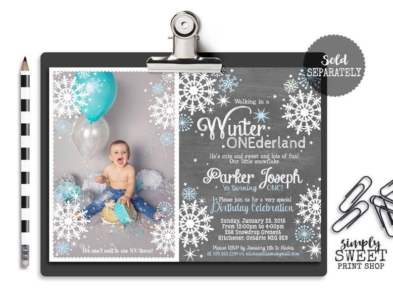 First Birthday Chalkboard Poster Boy Winter Onederland Wonderland Poster Customized One Year Sign Blue Chalk White Snowflakes Printable DIY