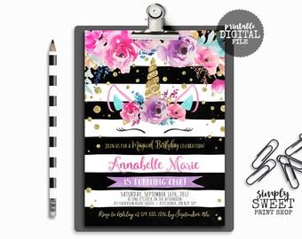 Unicorn Birthday Invitation Invite Unicorn Face Watercolor Stripe Magical Floral Flower Dreamy Pretty Glitter Gold Winter Pink Teal Purple