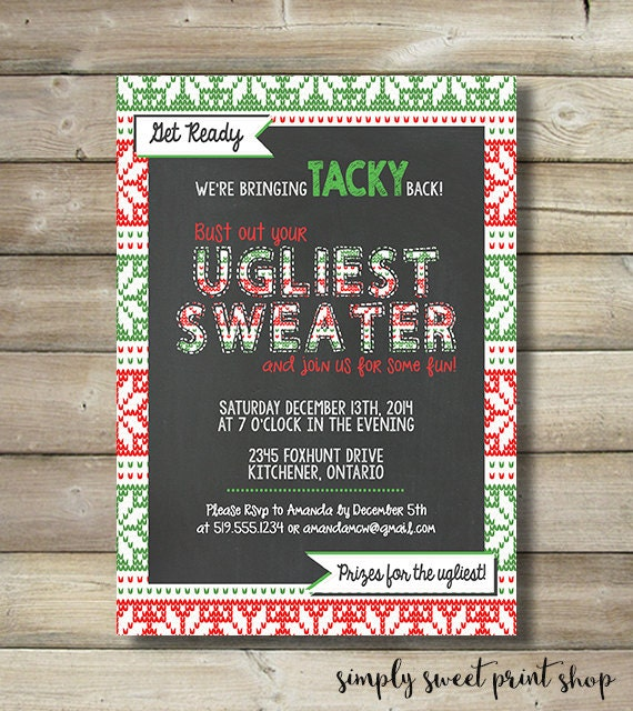 Ugly Sweater Christmas Holiday Party Invite Invitation Tacky Etsy