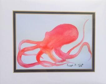 Octopus silhouette Art Print   Nature Illustration   Watercolor illustration