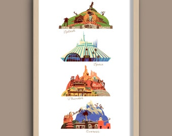 The Disney Mountains Print, Walt Disney World, Splash, Space, Big Thunder, Everest