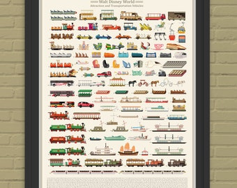 Walt Disney World Attraction and Transportation Vehicles Print with Vehicle Names