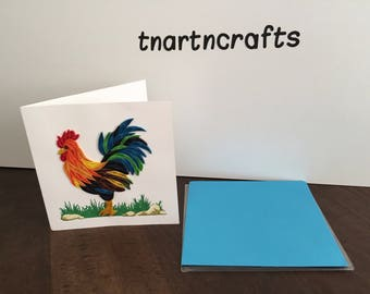 Handmade Quilling Card, Birthday card, 15x15cm, 3D card, beautiful chicken card, any occasions