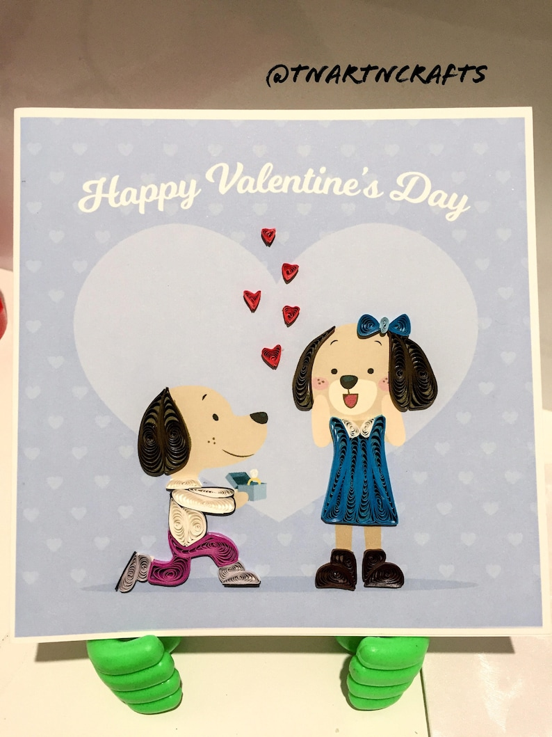 Handmade Quilling Card Dog Lovers Cute Couple Valentine Card 3D Cards Proposing