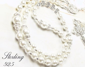 Baby Girl Baptism Rosary or Communion Personalized Rosary with Sterling 925 Silver Letters & Swarovski Purest White Pearls Girl Baptism Gift