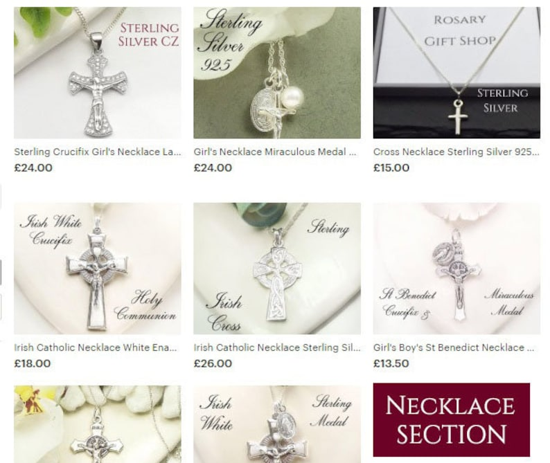 Sterling Crucifix Girl/'s Necklace Ladies Cubic Zirconia Baptism gift first Holy Communion Gift Christening Gift Confirmation Godmother gift