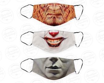 Adult Face Mask - Horror - Filter Pocket - Washable - Breathable - Includes Elastic Ear Loop