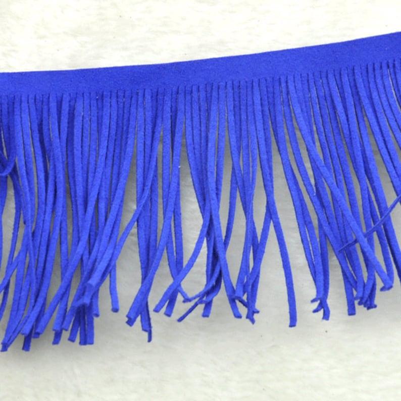 25d5059bb76c Sale Royal blue suede leather fringes for costume
